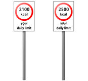 Kilocalorie daily intake road signs Royalty Free Stock Photography