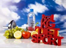 Kilogramos, dieta del deporte Imágenes de archivo libres de regalías