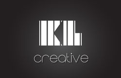 Kilolitre K L lettre Logo Design With White et lignes noires Images libres de droits