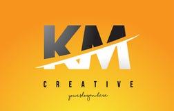 Kilomètre K M Letter Modern Logo Design avec le fond jaune et le Swoo illustration stock