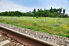 Kilomètre zéro Chemin de fer Image stock