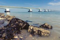 5 kilomètres Zeelandbrug long, Zélande, Pays-Bas Photo libre de droits