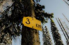 3 Kilometer Stockfoto