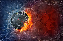 Kilometer gauge in fire and water. Kilometer gauge on fire and water with lightening around on abstract polygonal background. Horizontal layout with text space Stock Photo