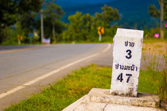 Kilometer marker to Pai in landscape Stock Photos