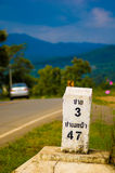 Kilometer marker to Pai in portrait Royalty Free Stock Photos