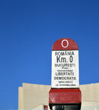 Kilometer noll, Bucharest, Rumänien vid den nationella teatern Royaltyfria Bilder