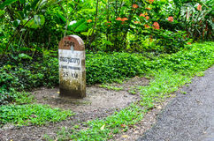 25 Kilometer zu Luangprabang-Meilenstein Stockbild