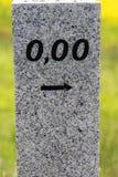 Kilometers aan het begin van de straat met 0.00 Stock Foto's