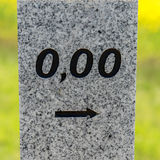 Kilometers at the beginning of the street with 0,00 Royalty Free Stock Photo