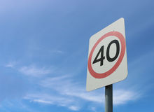 40 kilometre an hour road safety speed sign Stock Image