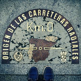 Kilometre Zero point in Puerta del Sol, Madrid, Spain, with a re. Stepped on the Kilometre Zero point in Puerta del Sol, Madrid, Spain, with a retro effect Royalty Free Stock Photo
