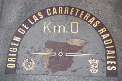 Kilometre zero sign in Madrid, Spain. Royalty Free Stock Photos