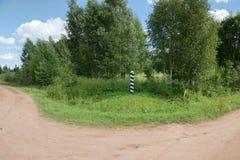 Kilometru znak na starej drodze Obrazy Royalty Free