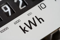 Kilowatt electric meter dial macro close-up. Stock Images