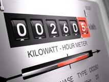 Kilowatt hour electric meter, power supply meter - closeup view. 3d rendering Royalty Free Stock Photos
