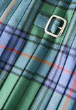 Kilt. Detail of buckle on traditional plaid kilt royalty free stock image