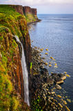 Kilt rock coastline cliff in Scottish highlands, Scotland Royalty Free Stock Images