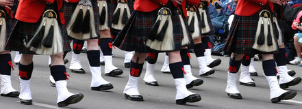 Kilted Bagpipe players Stock Images