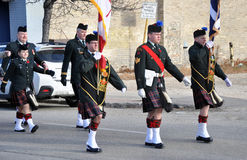 Kiltie. Photo was taken during Canadian Remembrance Day ceremonies in Winnipeg City, Manitoba province, Canada. on November 11, 2013. Location St. Phillips stock image