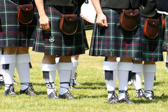 Kilts. Bagpipe players taken during a bagpipe competition in Germany royalty free stock photos
