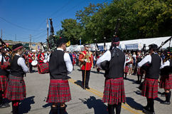Kilts. Bethlehem, PA, USA-September 28, 2014: Pipe band marching in the Celtic Classic. The Classic is one of the largest Highland Games and Festival in North stock photos