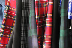 Kilts. Display of colourful Scottish kilts stock image