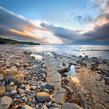 Kilve plaża przy zmierzchem Obrazy Royalty Free