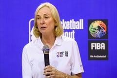 Kim Bohuny, vicepresidente de NBA de las operaciones internacionales del baloncesto imagen de archivo