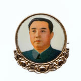 Kim Il-sung. North Korea, April 20, 2017: Vintage North Korean badge with a portrait of the President of the Democratic People`s Republic of Korea DPRK Kim Il Stock Photos