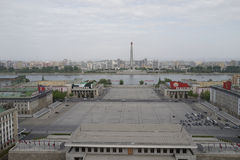 Kim Il-sung Square and Tower of the Juche Idea, Pyongyang. Panorama of Pyongyang with Kim Il-sung Square and Juche Tower and Taedong river Stock Photography