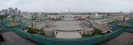 Kim Il-sung Square and Tower of the Juche Idea, Pyongyang. Panorama of Pyongyang with Kim Il-sung Square, Juche Tower and Taedong river taken from the roof of Royalty Free Stock Image