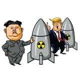 Kim Jong-FN vs Donald Trump Cartoon Caricature Vector stock illustrationer