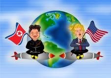 Kim Jong Un contra Donald Trump ilustração stock