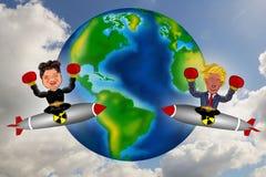 Kim Jong Un contra Donald Trump ilustração do vetor