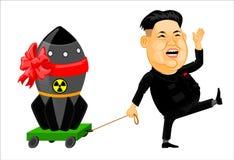 Kim Jong Un med en atombomb Den kärn- gåvan bombarderar med en röd pilbåge Arkivfoton