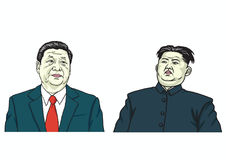 Kim Jong-un met Xi Jinping Vector illustratie 24 augustus, 2017 Stock Afbeeldingen