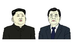 Kim Jong-un and Moon Jae-in Portrait Flat Design Vector Illustration Royalty Free Stock Images