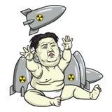 Kim Jong-un Playing Missiles De vectorillustratie van het beeldverhaal 25 mei, 2017 Royalty-vrije Stock Afbeelding