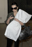 Kim Kardashian is seen hugging her pillow at LAX Royalty Free Stock Photography