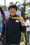 Kim See Hyung met Gouden Medaille Stock Afbeeldingen
