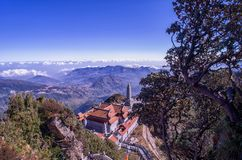 Kim Son Bao Thang Tu Pagoda on Fansipan mountain,Fansipan highest mountain peak of Indochina. Fansipan highest mountain peak of Indochina in SAPA Lao cai royalty free stock photos
