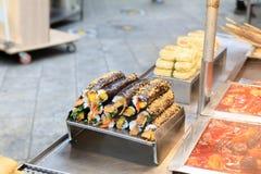Kimbap, comida de la calle para la venta foto de archivo libre de regalías