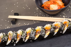 Kimbap korean rolls with beef Royalty Free Stock Images