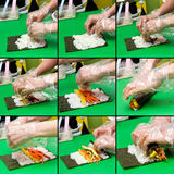 Kimbap making collage Stock Images