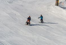 KIMBERLEY, CANADA - MARCH 22, 2019: handicapped person riding a sit-skis Vancouver Adaptive Snow Sports. Active, activity, alpine, athlete, disability royalty free stock photos