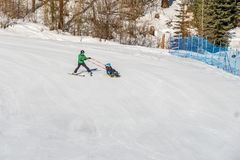 KIMBERLEY, CANADA - MARCH 22, 2019: handicapped person riding a sit-skis Vancouver Adaptive Snow Sports. Active, activity, alpine, athlete, disability royalty free stock images
