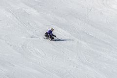 KIMBERLEY, CANADA - MARCH 22, 2019: handicapped person riding a sit-skis Vancouver Adaptive Snow Sports. Active, activity, alpine, athlete, disability stock photo