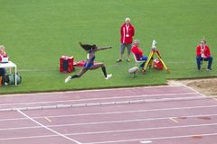 Kimberly Williams. Preapering for his long jump on Diamond League in Rome, Italy in 2016 Stock Photos