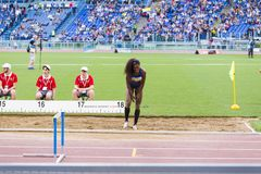 Kimberly Williams. Preapering for his long jump on Diamond League in Rome, Italy in 2016 Royalty Free Stock Photo